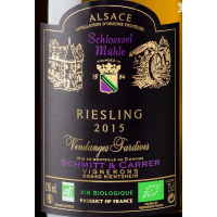 Semi-dry white wine RIESLING Vendanges Tardives Bio, Domaine Schmitt & Carrer, 2015